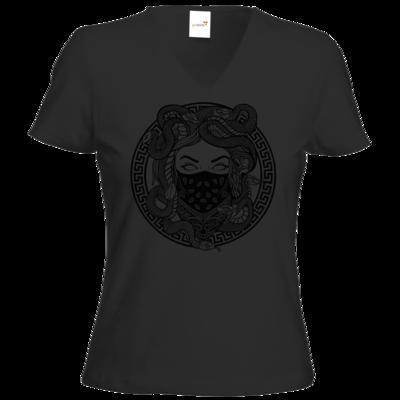 Motiv: T-Shirts Damen V-Neck FAIR WEAR - GANG - Black