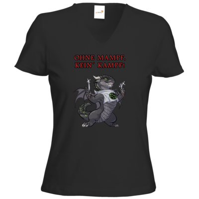 Motiv: T-Shirt Damen V-Neck Classic - Ulisses - Ohne Mampf kein Kampf