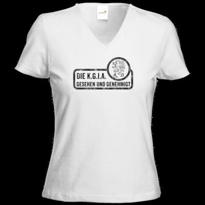 Motiv: T-Shirt Damen V-Neck Classic - Sprüche - KGIA - Gesehen und genehmigt