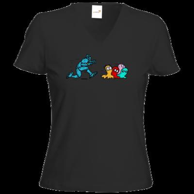 Motiv: T-Shirt Damen V-Neck Classic - Pac-Man