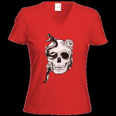 Motiv: T-Shirts Damen V-Neck FAIR WEAR - Totenkopf