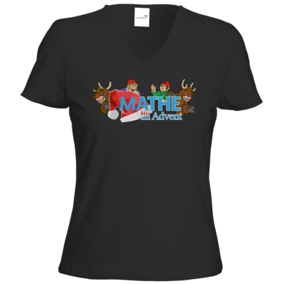 Motiv: T-Shirts Damen V-Neck FAIR WEAR - Logo mit Wichteln und Rentieren