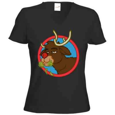 Motiv: T-Shirts Damen V-Neck FAIR WEAR - Rudolph