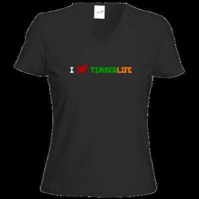 Motiv: T-Shirts Damen V-Neck FAIR WEAR - I love TimberLife