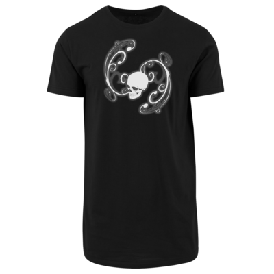 Motiv: Shaped Long Tee - Ornamental Skull