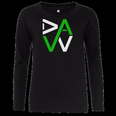 Motiv: Girlie Crew Sweatshirt - DaW-Logo Grün