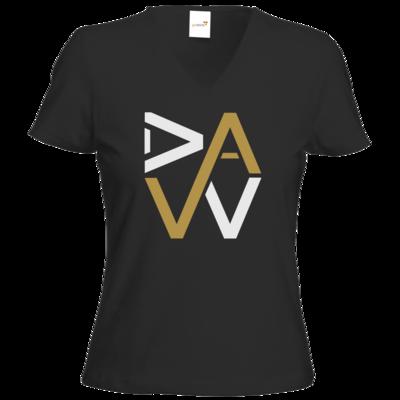 Motiv: T-Shirts Damen V-Neck FAIR WEAR - DaW-Logo Gold