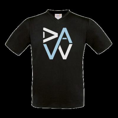 Motiv: T-Shirt V-Neck FAIR WEAR - DaW-Logo Hellblau