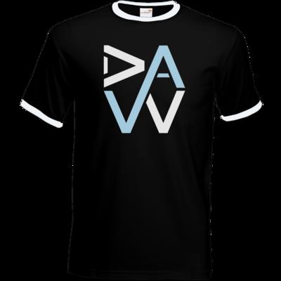 Motiv: T-Shirt Ringer - DaW-Logo Hellblau