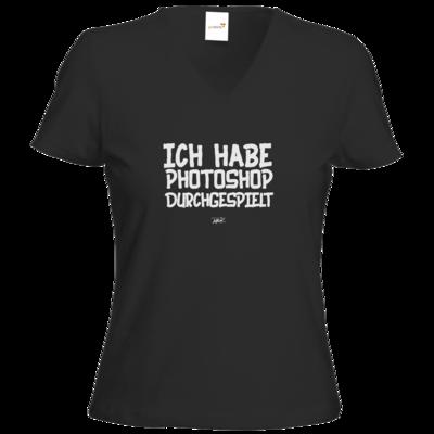 Motiv: T-Shirt Damen V-Neck Classic - Ich hab PS durchgespielt