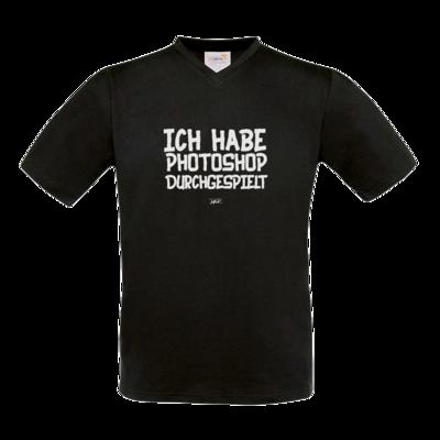 Motiv: T-Shirt V-Neck FAIR WEAR - Ich hab PS durchgespielt
