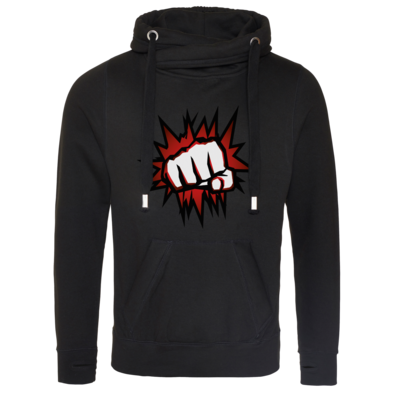 Motiv: Cross Neck Hoodie - NEW Redfist