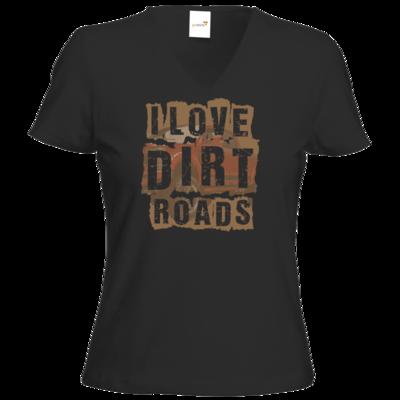 Motiv: T-Shirt Damen V-Neck Classic - I Love Dirt Roads