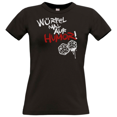 Motiv: T-Shirt Damen Premium FAIR WEAR - Pen & Paper - Würfel mal auf Humor