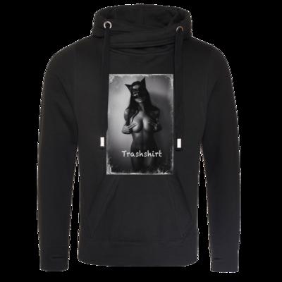 Motiv: Cross Neck Hoodie - Cat