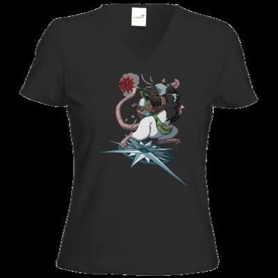 Motiv: T-Shirts Damen V-Neck FAIR WEAR - Alea - Stay Home
