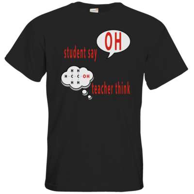 Motiv: T-Shirt Premium FAIR WEAR - OH - student say - teacher think (funktionelle Gruppe der Alkohole)
