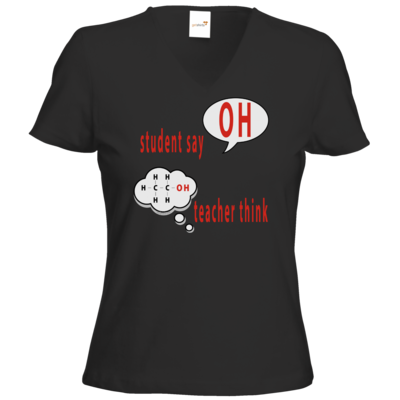 Motiv: T-Shirt Damen V-Neck Classic - OH - student say - teacher think (funktionelle Gruppe der Alkohole)