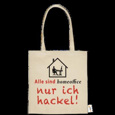 Motiv: Baumwolltasche - Alle sind homeoffice - nur ich hackel! (Haus)