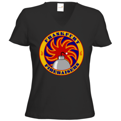 Motiv: T-Shirts Damen V-Neck FAIR WEAR - Shadowrun (r)  - Frankfurt Fireraisers