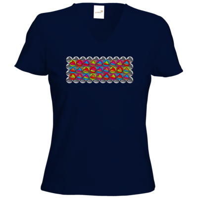 Motiv: T-Shirt Damen V-Neck Classic - Popart Mütze