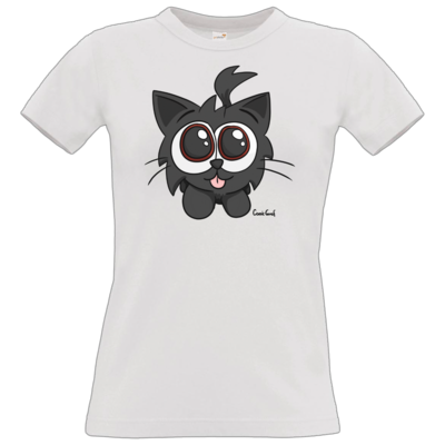 Motiv: T-Shirt Damen Premium FAIR WEAR - Kätzchen Schwarz