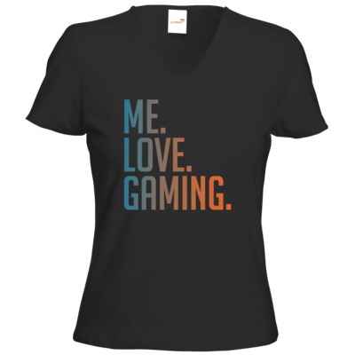 Motiv: T-Shirts Damen V-Neck FAIR WEAR - Me.Love.Gaming.