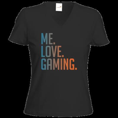 Motiv: T-Shirts Damen V-Neck FAIR WEAR - Me.Love.Gaming.