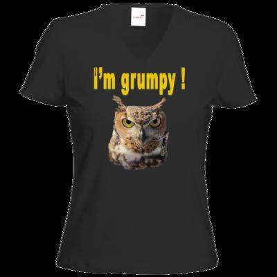 Motiv: T-Shirt Damen V-Neck Classic - I'm grumpy! (Eule)