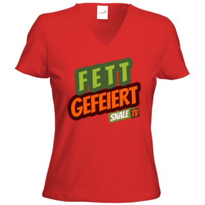 Motiv: T-Shirts Damen V-Neck FAIR WEAR - Fett Gefeiert