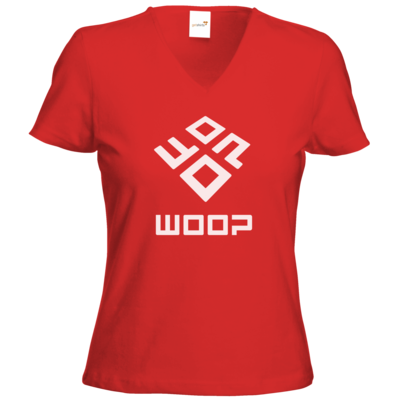 Motiv: T-Shirts Damen V-Neck FAIR WEAR - Woop Logo Monochrom