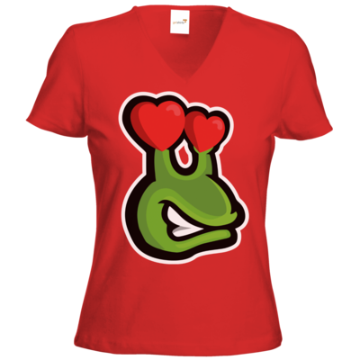 Motiv: T-Shirts Damen V-Neck FAIR WEAR - Emote Love