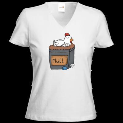 Motiv: T-Shirts Damen V-Neck FAIR WEAR - Müllhuhn