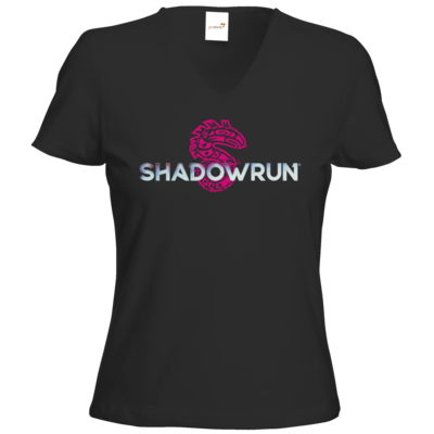 Motiv: T-Shirts Damen V-Neck FAIR WEAR - Shadowrun (r) Logo
