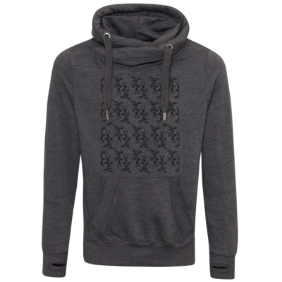 Motiv: Cross Neck Hoodie - Elch - Pattern (black)
