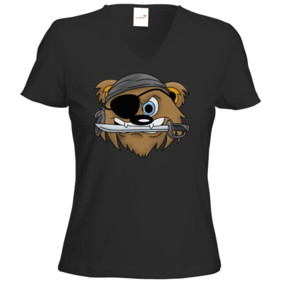 Motiv: T-Shirt Damen V-Neck Classic - Piratenbaer