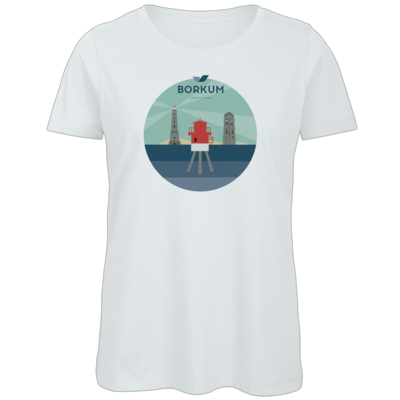 Motiv: Organic Lady T-Shirt - Leuchttürme (mehrfarbig)