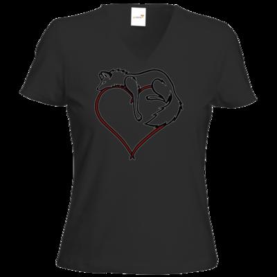 Motiv: T-Shirt Damen V-Neck Classic - wolfsherz