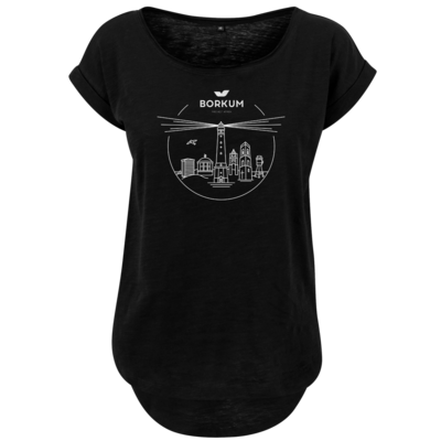 Motiv: Ladies Long Slub Tee - Skyline Borkum (s/w)