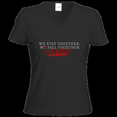 Motiv: T-Shirts Damen V-Neck FAIR WEAR - bad wolves
