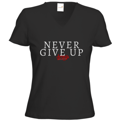 Motiv: T-Shirts Damen V-Neck FAIR WEAR - Never give up