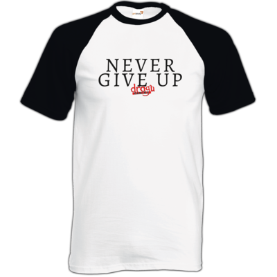 Motiv: TShirt Baseball - Never give up