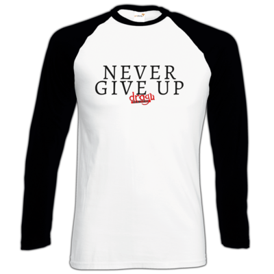 Motiv: Longsleeve Baseball T - Never give up