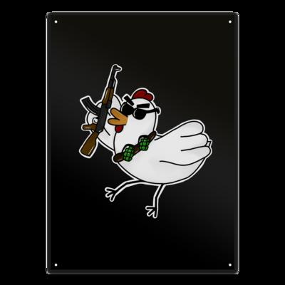 Motiv: Metallschild - Terrorhuhn