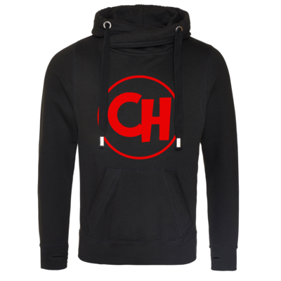 Motiv: Cross Neck Hoodie - Cheetah Red Logo