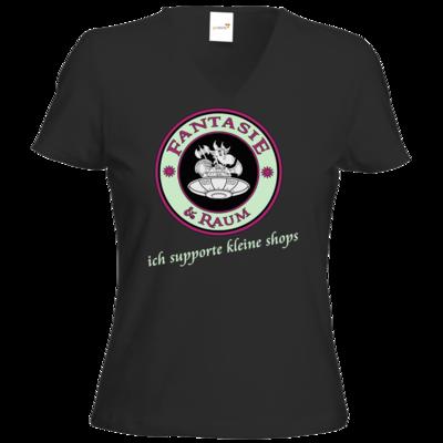 Motiv: T-Shirt Damen V-Neck Classic - ich supporte kleine Shops dunkel