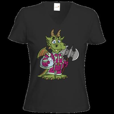 Motiv: T-Shirts Damen V-Neck FAIR WEAR - Space-Dragon
