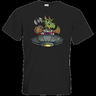 Motiv: T-Shirt Premium FAIR WEAR - Space Drache im UFO