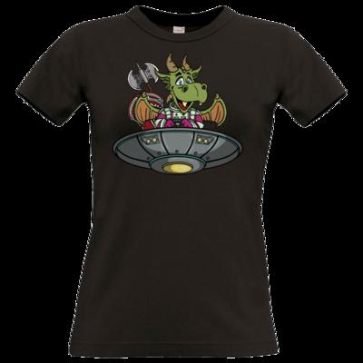 Motiv: T-Shirt Damen Premium FAIR WEAR - Space Drache im UFO
