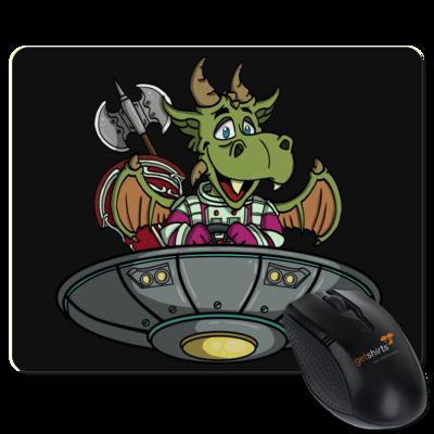 Motiv: Mousepad Textil - Space Drache im UFO